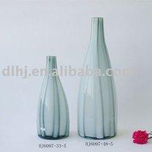 Stripe Murano Glass Vase in Grey