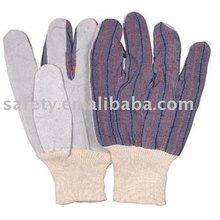 "10"" cow split palm ,stripe cotton back, knit wrist working safety gloves"
