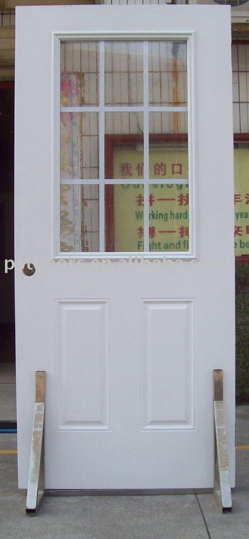 9 lite internal grilled metal entry door(glass door)