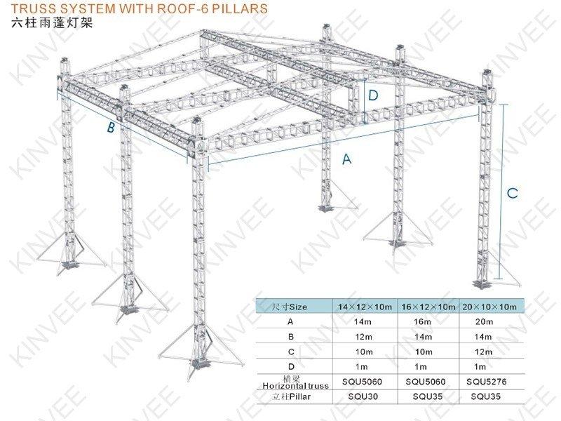 Truss System With Roof 6 Pillars Buy Truss Lighting