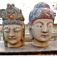 Buddha Head Statue, Antique Wood Carving, religious crafts