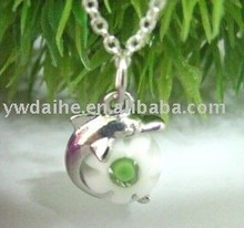 Alloy rhodium plated dolphin with a eye beads pendant chain necklace LMNB-8042