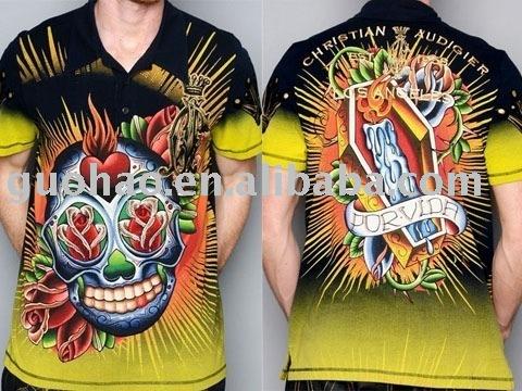 See larger image: Shiny Men's T-shirt,Tattoo Mens Tshirt,Men's Tshirt,Fashion Tshirt,Designer Tshirt,Mens Top,Mens Tees***Factory Price!