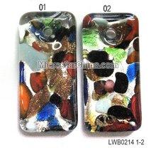 Silver foil murano glass pendant