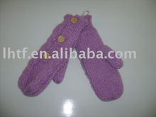 Acrylic Yarn With Three Wood Button Glove