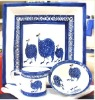 Pottery Guinea fowl square dinner plate, milk jug and cereal bowl
