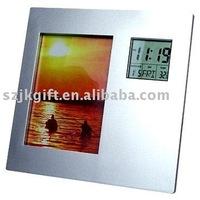 new design cheap rotating photo frame with digital calendar clock