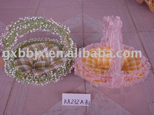 Round/Egg shaped canvas and iron frame flower basket for gift