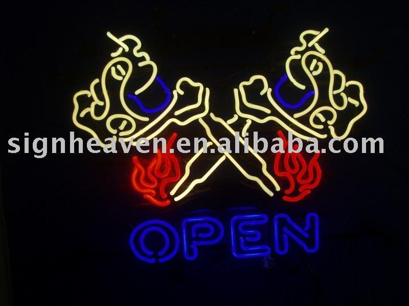 neon tattoo signs. Tattoo Machine open Neon Sign