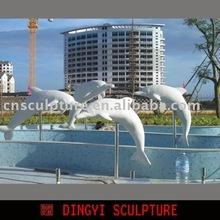 dolphin sculpture, dolphin statue, landscaping sculpture