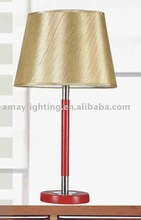 replica table lamp in red painting wooden pole and gold fabric lampshade