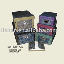 Fabric folding storage box with lids
