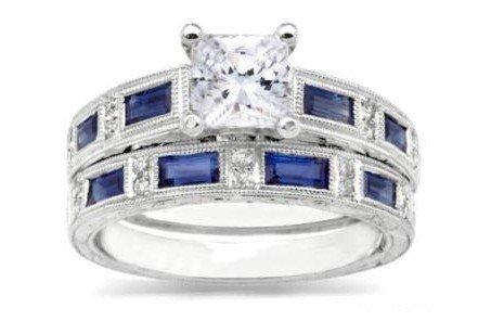 Sharna Diamond and sapphire engagement ring and matching wedding band
