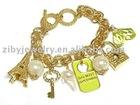 Eiffel tower and key and lock multi charm toggle bracelet - travel theme