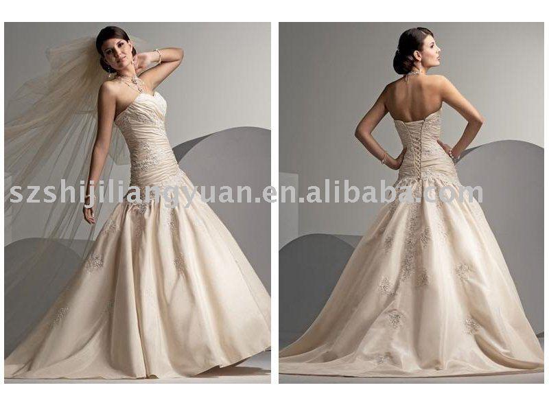 View product details cream embroidered elegant wedding dress sj
