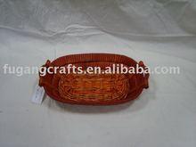 handmade wicker tray with handles