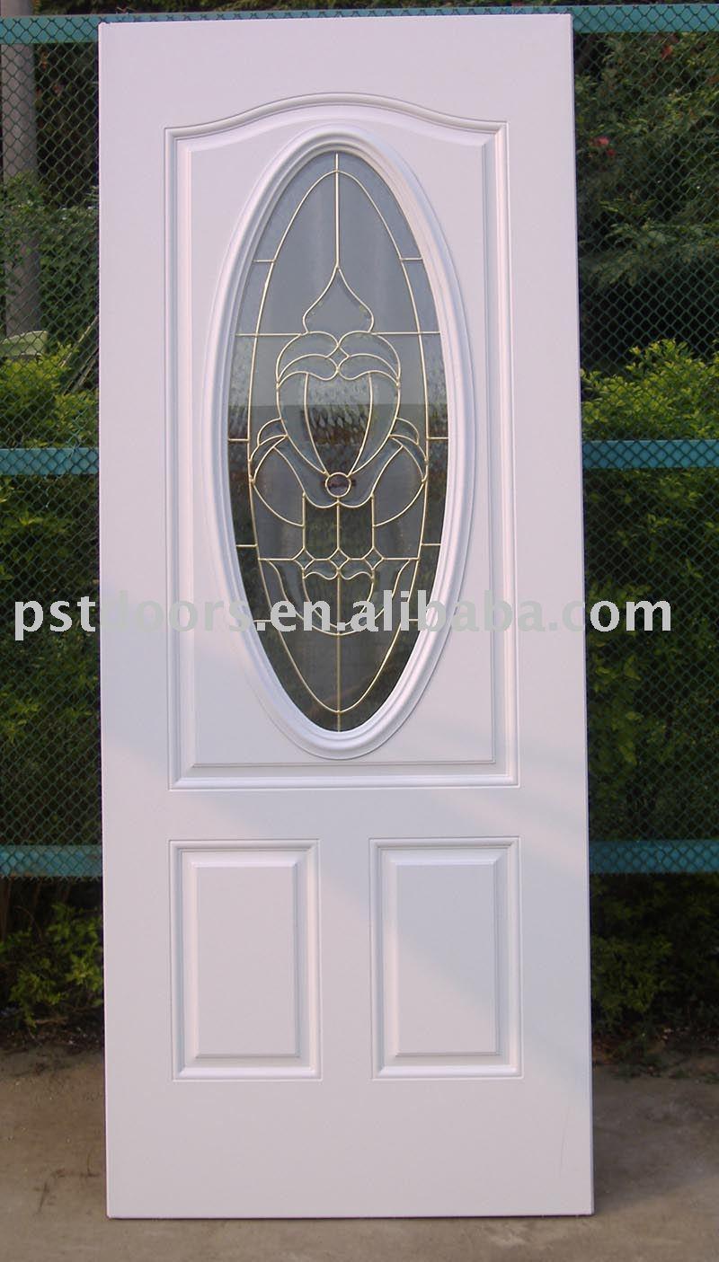Métal porte avec ovale insert en verre, Acier porte en verre, Verre extérieure porte