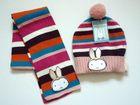 100%acrylic kid stripe winter fashion hat& scarf set