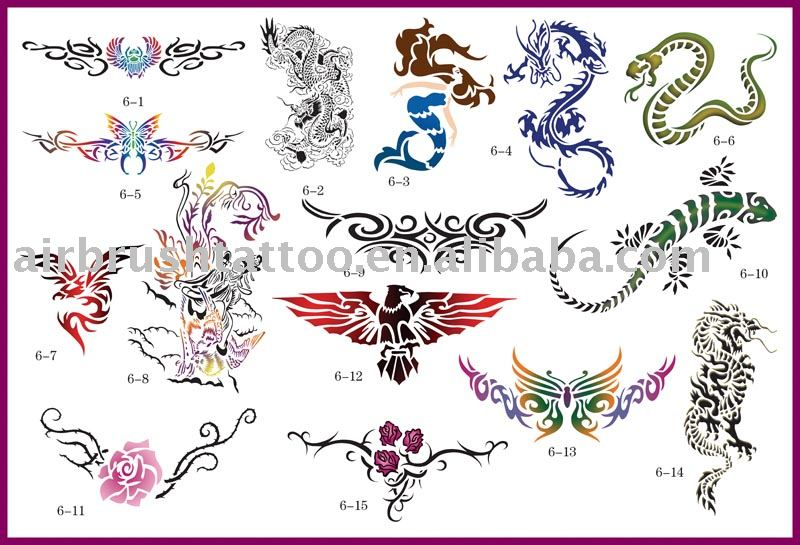 See larger image: Temporary airbrush tattoo stencil design --- Dragon