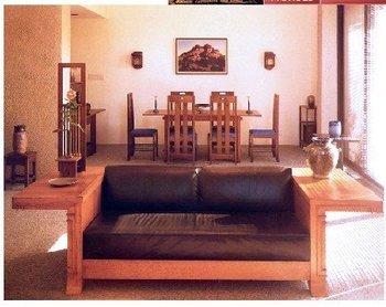 Sofa With Wrap Around Tables - Craftsman Style Cir 1900 - CBC626