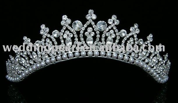 Bridal Prom Wedding Veil Crystal Pearl Crown Tiara 9102