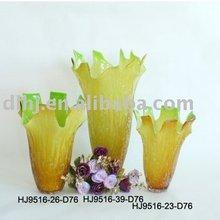 Murano Glass Vases in Amber