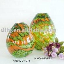 Phoenix Murano Art Glass Vases in Green and orange