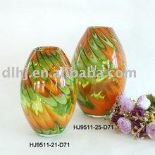 Phoenix Art Murano Glass Vases in Green and orange