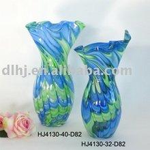 Phoenix Murano Art Glass Vase in Green and Blue