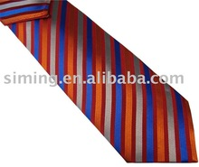 Silk Multiple Stripe Necktie With Hanky