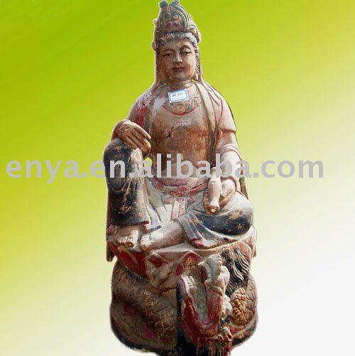 Escultura de KuanYin (Kuan Yin), talla de madera antigua