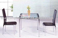 Transparent Glass Top Square Dining Table(CT623)