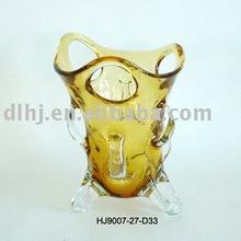 Murano Art Glass Vase in Golden Amber