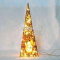 Natal artificial cone árvore com ouropéis e luzes, e folha de pvc
