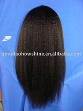 2012 new fashion kinky yaki human hair full lace wig