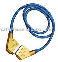 Scart cable metal 21p plug