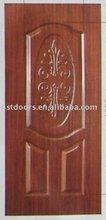 pvc laminated door with decorative design,3panel steel door with pvc coating