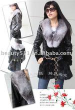 2010 Luxury fashion mink fur coat with blue fox collar JL006