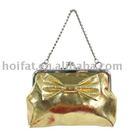 Frame bag mini polyester purse metallic pvc purse glitter pu chain purse small wallet cheap good promotion