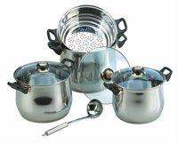 8pcs stock pot with stainless steel lid , bateria de cocina