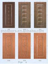 wooden edge PVC coated steel door, residential panel steel door (Guangzhou factory)