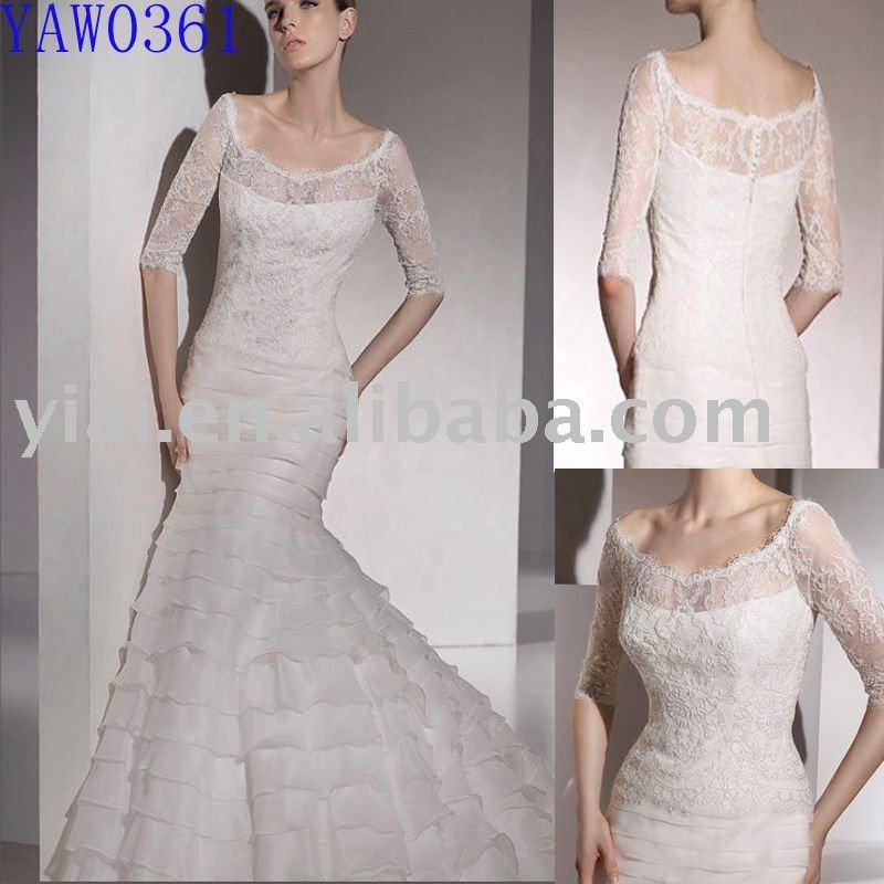 elegant lace long sleeve wedding gown YAW0361