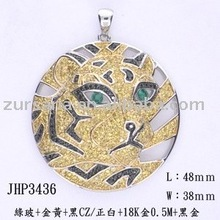 Classic animal-shape pendant with colorful CZ