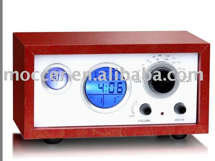 Wooden Case Alarm Clock Radio Speaker Thermometer Buy