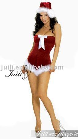See larger image: Sexy Marabou Strip Santa Set