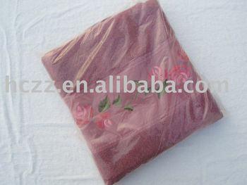 cotton satin embroidered bath towel