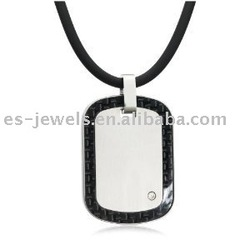 Stainless Steel and Carbon Dog Tag Pendant Cubic Zirconia Accent