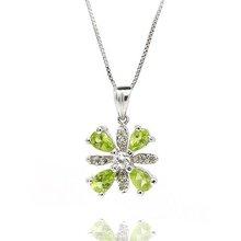 silver peridot pendant fashion jewelry paper show case SP0193P