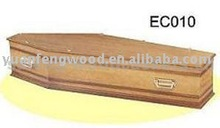 EC010 veneer wood caskets with satin finish and crepe interior