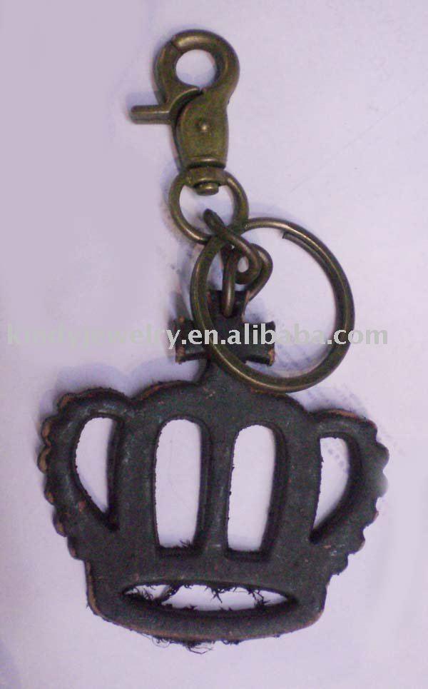 De cuero de vaca llave de la corona de la cadena